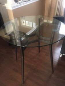 High glass top table
