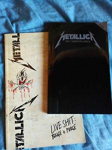 METALLICA-2-libri-Books-rare-Live-Shit-Binge-amp-Purge-The-complete-Lyrics-book