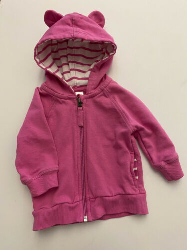 Hanna Andersson Teddy Bear Ears Hoodie Full Zip Sweatshirt Sz 6-12m Pink Girls