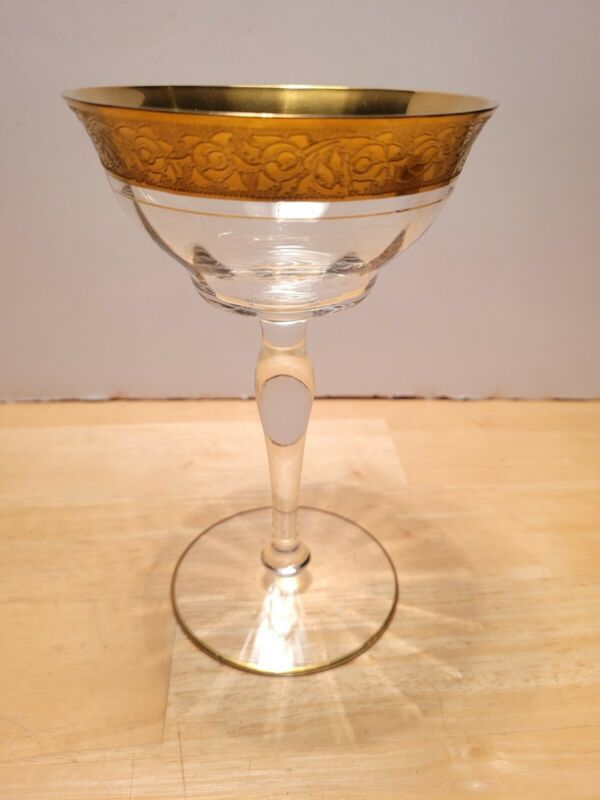 "Rambler Rose Clear Gold 1 Champagne Gold Trim 5.75"" Tall"