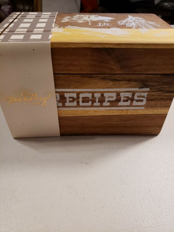 Twine Pantry Recipe Box With Cards. Wooden Box