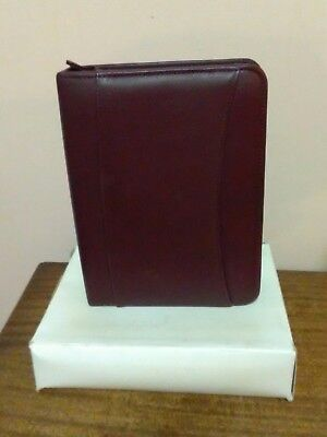 Franklin Covey Burgundy Compact Leather 1 Zipper Binder - New