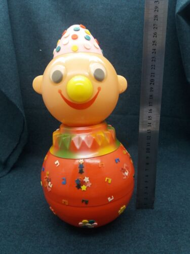 Old unusual clown doll USSR Soviet Russian musical toy Tumbler
