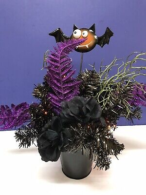 Lighted Halloween Arrangement Floral Centerpiece Spooky Home Decor