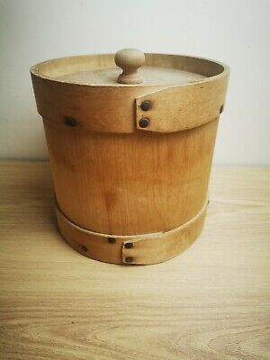 Vintage  Antique Wooden Round Ice Bucket With Lid