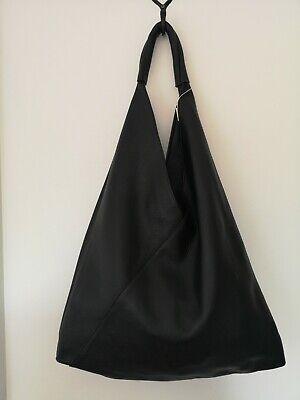 Stunning Italian grainy black Leather XL Hobo slouch Sac Bag