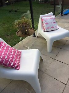 Two retro shaped outdoor plastic chairs Grange Brisbane North West Preview