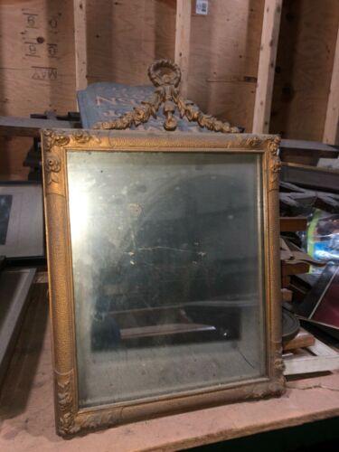 "SWEET vintage Metal frame GOLD mirror floral detail 17.5""x12"" - 11.5x9.5"" glass"