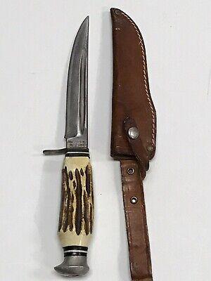 """Vintage OLSEN KNIFE Co Germany 1700 Model HUNTING KNIFE 9"""" Stag Handle"""