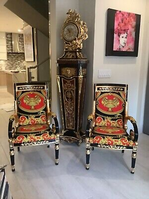 Louis xvi style antique chairs with Versace lion and urn upholstery one of kind