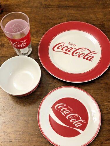 Gibson Enjoy Coca-Cola 4 Piece Dinnerware Set NIB Glass Tumbler Bowl Plate