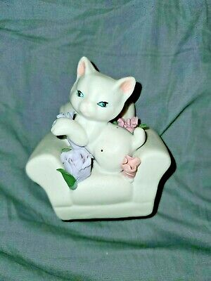 Kitten In Chair Bisque Figurine with 3D Hand Crafted Roses