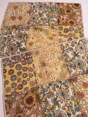 POTTERY BARN 2 Patchwork QUILTED 100% Cotton Standard PILLOW SHAMS Brown/Blue