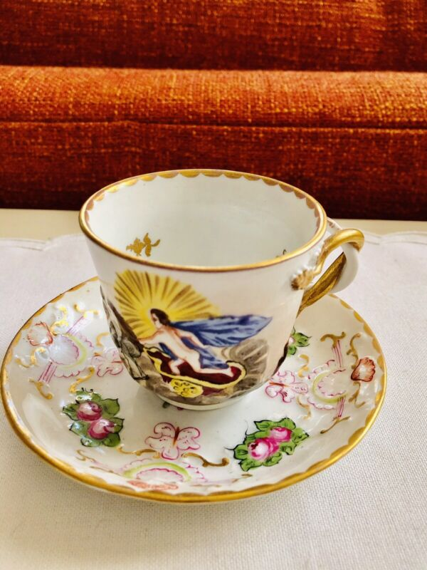 Antique Capodimonte Italy Chocolate Tea Cup & Saucer Raised Entwined  Handle