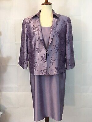 Coldwater Creek 16 Petite Dress with Jacket Purple Formal Wedding Church Easter