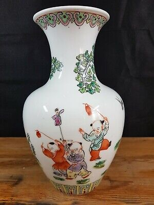 VINTAGE HAND PAINTED ORIENTAL VASE CHILDREN PLAYING SCENES CHARACTER MARKS