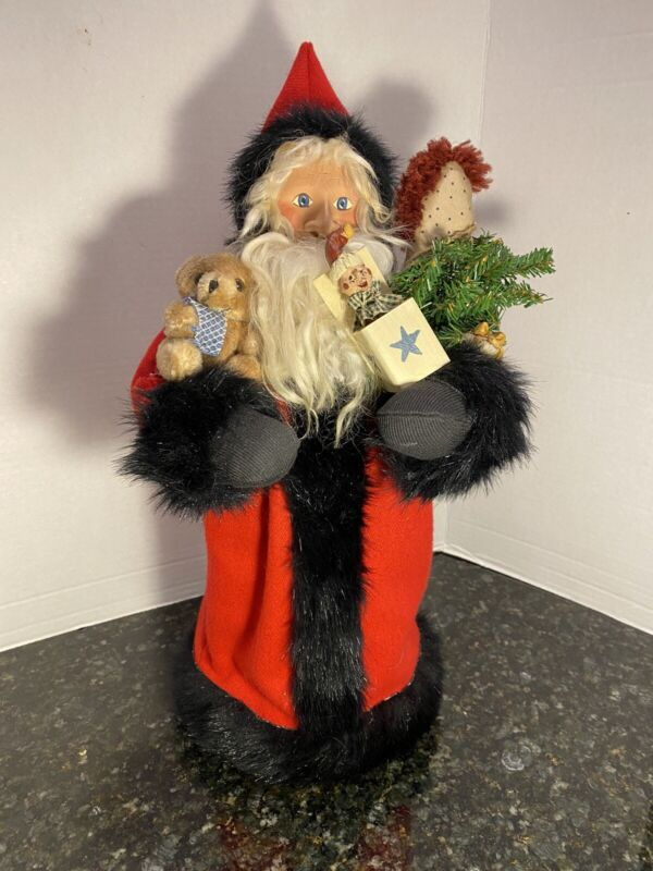 Vintage Lynette Dager Red Santa Clause Treasures Of The Heart Signed By Artist