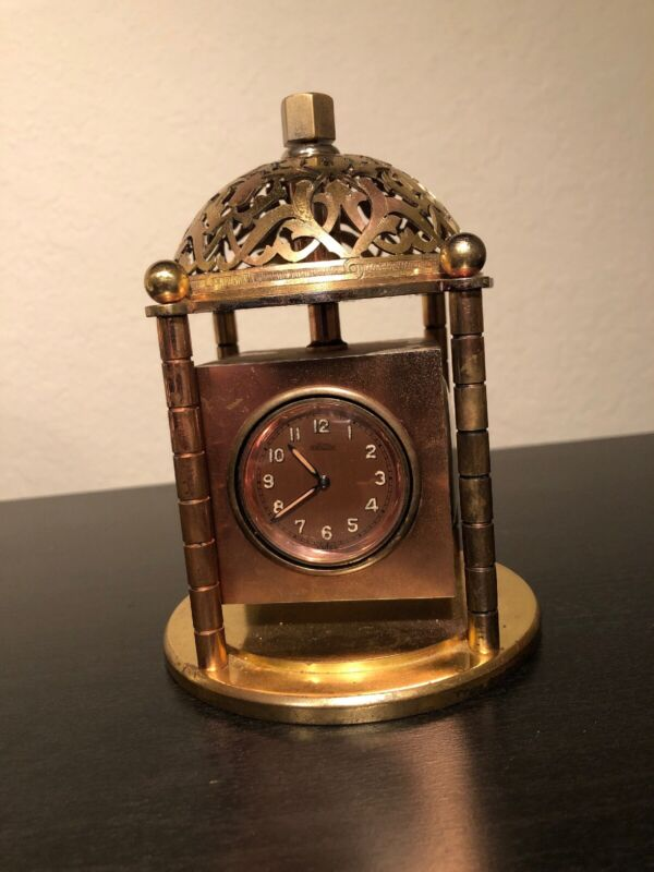 Vintage Angelus Table Clock With Weather Station