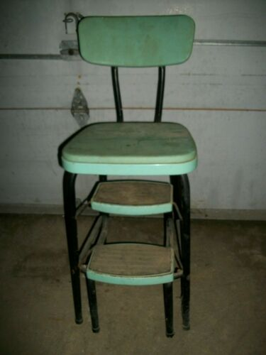Vintage 1940s/50s Mid Century Green Cosco Folding Step Stool Kitchen Chair