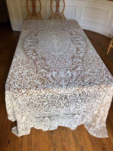 "Antique Handmade Rare Cantu Lace Table Cloth -142"" long"