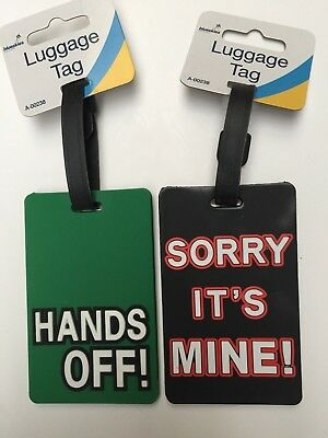 2 x Travel Suitcase Luggage Tags - Name and Address hands off & sorry its mine