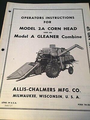 Original Allis-chalmers Gleaner Corn Head Tm-284 C Operators Manually