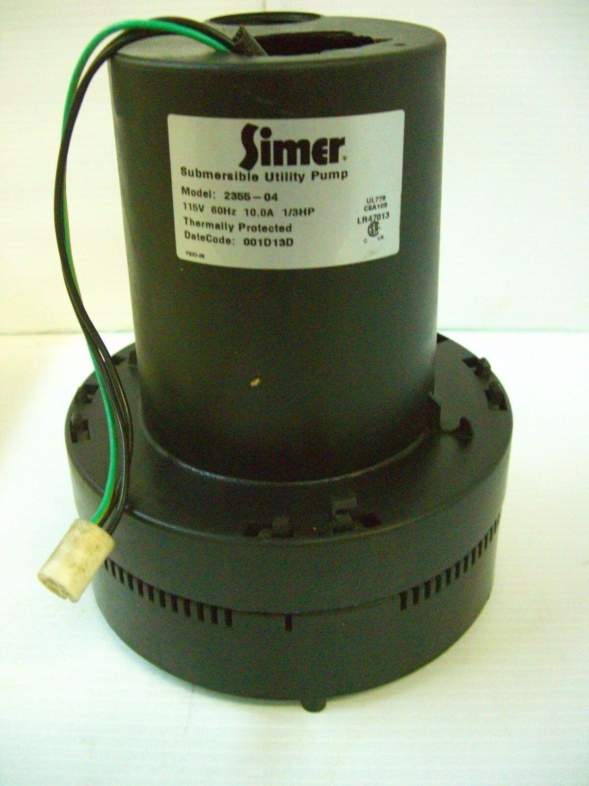 Simer Model 2355 1/3hp Submersible Sump Pump Broken Cap No C