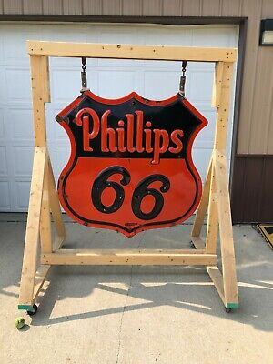 RARE ORIGINAL Vintage PHILLIPS 66 Double Sided PORCELAIN NEON Sign Gas Oil OLD