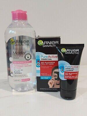 Garnier Skin Active Micellar Water 400ml + Charcoal Peel-off Mask 50ml New