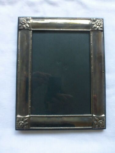 Vtg Silver Embossed Repousse Roses Corners Picture Frame 5 x 7 inches