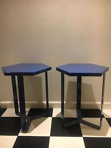 Metal side tables, pair, dark blue Darling Point Eastern Suburbs Preview