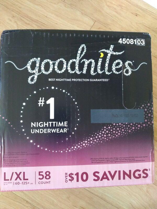 Goodnights Goodnites Nighttime Underwear L/XL 58 ct Fits Size 8-14 60-125 lbs