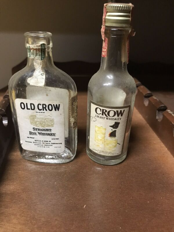 Old Crow And Crow Light Mini Bottle Lot Whiskey Alochol Liquor EMPTY