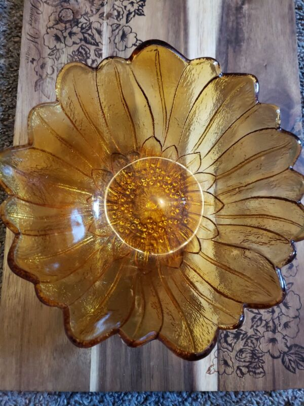 "Amber Indiana Sunflower Carnival Glass Bowl  7"" Vintage Snack Bowl"