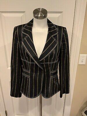Armani Collezioni Black & Gold Striped Blazer, Size 8
