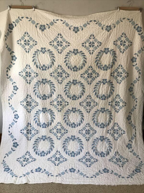 Vintage 1950s 1960s Blue Cross Stitch Quilt