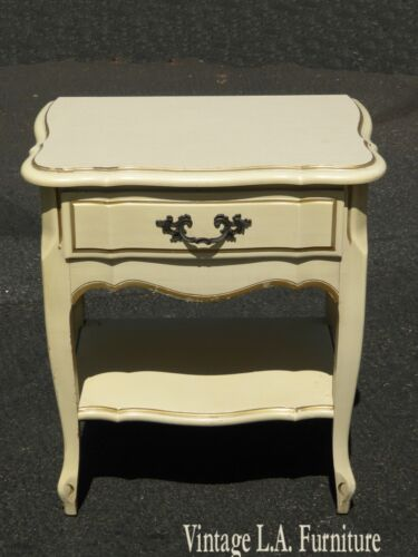 Vintage French Provincial Country Creme Nightstand w Gold Pin Strips