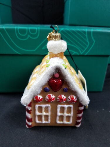 Reed & Barton EUROPEAN Glass Christmas Ornament GINGERBREAD HOUSE New in Box