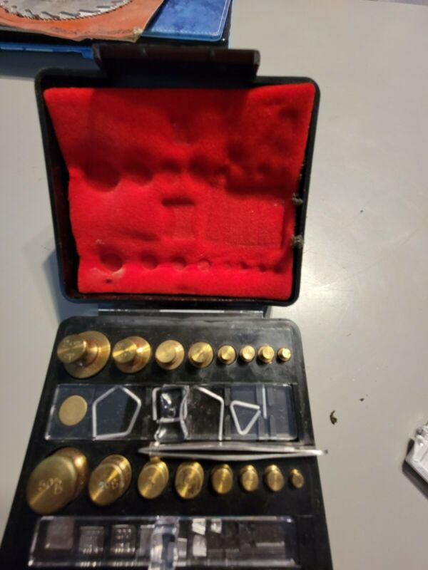 Vintage Troemner Brass Weights Set In Original Black Case some missing pieces