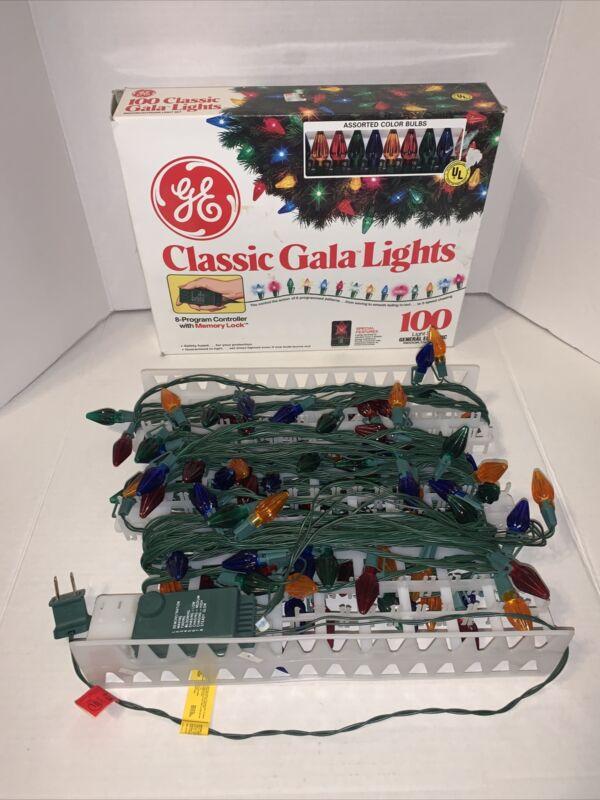 GE CLASSIC GALA Lights 100 Light Set MULTICOLOR 8-Program Controller Memory Lock