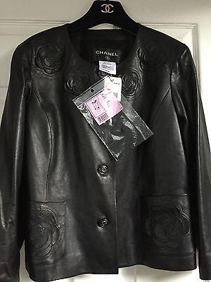Chanel 10A Paris Shanghai NEW TAGS Black CAMELLIA Leather Jacket FR42-FR40 $14K
