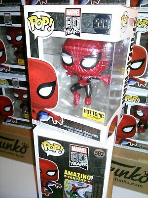 Funko Pop Marvel SPIDER-MAN #593 Hot Topic Exclusive METALLIC + FREE Protector