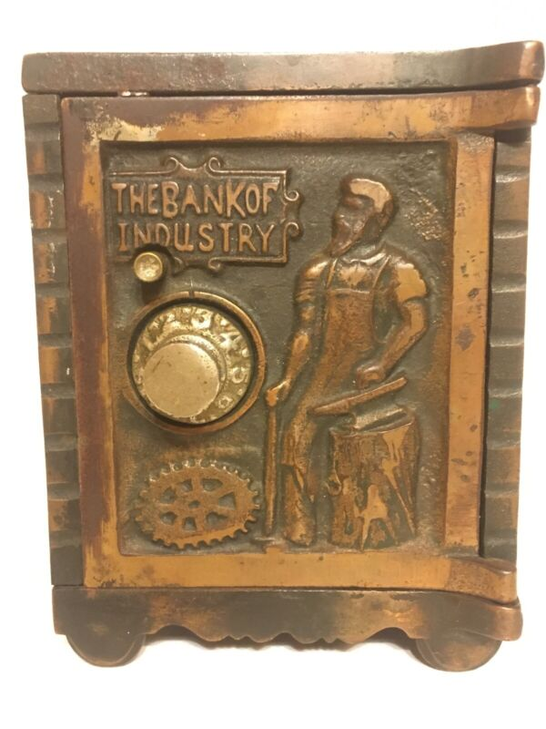"""c.1902-1932 Kenton """"The Bank of Industry"""" Copper Electroplate Bank"""