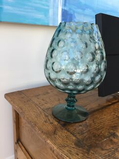 Vintage retro teal large 33 cm brandy balloon vase 1970 mint