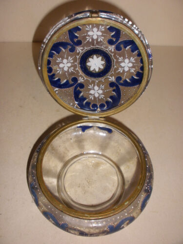 Antique Moser Bohemian Victorian enamel flowers enameled glass hinged box