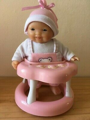 "Happy BERENGUER 5"" baby doll in cute outfit + swing seat, walking ring & potty"