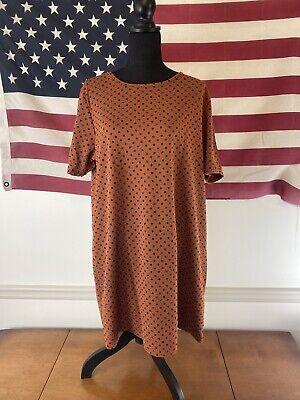Boohoo Plus Size Crepe Polka Dot Ahift Dress Rust US Size 18 New NWT