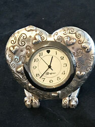 Classic Vintage Brighton Silver Tone Heart Shaped Working Table Clock