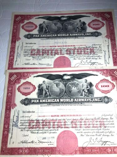 TWO PAN AMERICAN WORLD AIRWAYS, INC 1950s issued STOCK CERTIFICATES