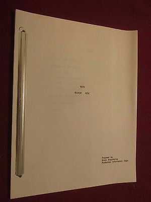 1970 Buick GSX 27-Page Meeting Handout to Buick Engineering